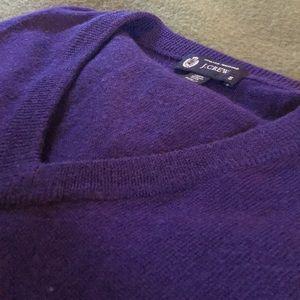 JCrew men's merino wool v-neck sweater in purple